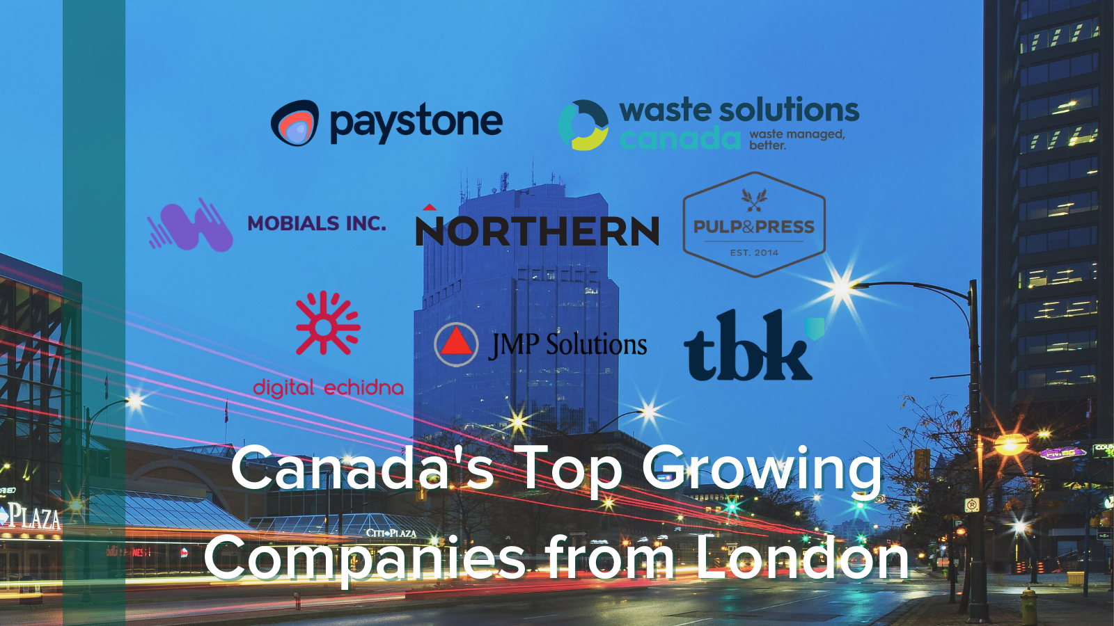 Logos with image of downtown London in background